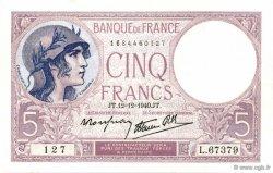 5 Francs VIOLET modifié FRANCE  1940 F.04.17 NEUF