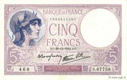 5 Francs VIOLET modifié FRANCE  1940 F.04.18 NEUF