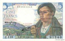 5 Francs BERGER FRANCE  1943 F.05.05 pr.NEUF