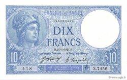 10 Francs MINERVE FRANCE  1921 F.06.05 pr.SPL