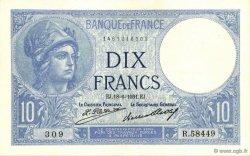 10 Francs MINERVE FRANCE  1931 F.06.15 SPL+