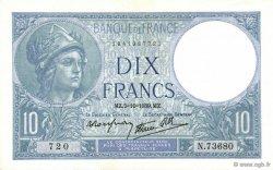 10 Francs MINERVE modifié FRANCE  1939 F.07.10 NEUF