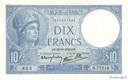 10 Francs MINERVE modifié FRANCE  1940 F.07.16 NEUF