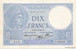 10 Francs MINERVE modifié FRANCE  1942 F.07.31 pr.SUP