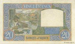 20 Francs SCIENCE ET TRAVAIL FRANCE  1940 F.12.05 TTB à SUP
