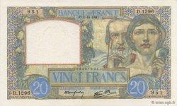 20 Francs SCIENCE ET TRAVAIL FRANCE  1940 F.12.08 SUP+