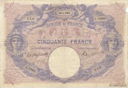 50 Francs BLEU ET ROSE FRANCE  1901 F.14.13 TB