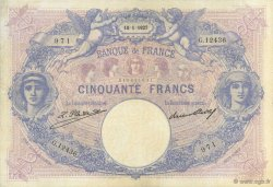 50 Francs BLEU ET ROSE FRANCE  1927 F.14.40 pr.TTB
