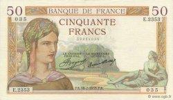 50 Francs CÉRÈS FRANCE  1935 F.17.13 TTB à SUP