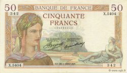 50 Francs CÉRÈS FRANCE  1937 F.17.33 pr.SUP