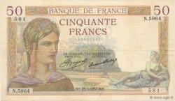 50 Francs CÉRÈS FRANCE  1937 F.17.36 TTB
