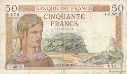 50 Francs CÉRÈS modifié FRANCE  1937 F.18.03 pr.TTB