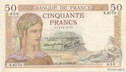 50 Francs CÉRÈS modifié FRANCE  1938 F.18.16 TTB+