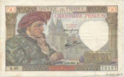 50 Francs JACQUES CŒUR FRANCE  1941 F.19.06 TTB
