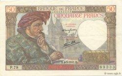 50 Francs JACQUES CŒUR FRANCE  1941 F.19.10 pr.SUP