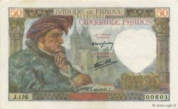50 Francs JACQUES CŒUR FRANCE  1941 F.19.15 pr.SPL