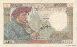 50 Francs JACQUES CŒUR FRANCE  1941 F.19.16 pr.SUP