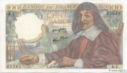 100 Francs DESCARTES FRANCE  1942 F.27.01 pr.SUP