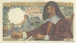 100 Francs DESCARTES FRANCE  1942 F.27.01 pr.SUP
