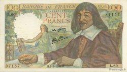 100 Francs DESCARTES FRANCE  1943 F.27.03 SUP+