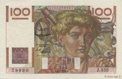 100 Francs JEUNE PAYSAN FRANCE  1953 F.28.36 SPL+