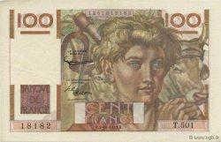 100 Francs JEUNE PAYSAN filigrane inversé FRANCE  1952 F.28bis.01 SUP