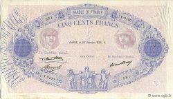 500 Francs BLEU ET ROSE FRANCE  1933 F.30.36 TTB
