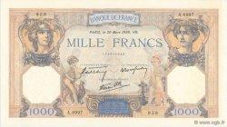 1000 Francs CÉRÈS ET MERCURE type modifié FRANCE  1939 F.38.35 SUP+