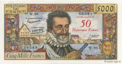 50 NF sur 5000 Francs HENRI IV FRANCE  1958 F.54.01 SPL