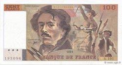 100 Francs DELACROIX imprimé en continu FRANCE  1991 F.69bis.04a SUP