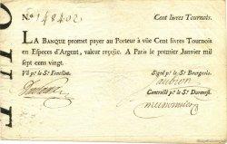 100 Livres tournois typographié FRANCE  1720 Laf.090 TTB+
