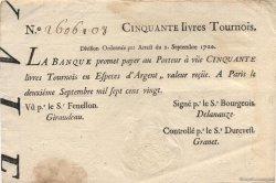 50 Livres Tournois typographié FRANCE  1720 Laf.096 TTB+
