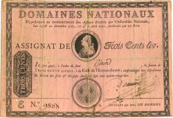 300 Livres à endos FRANCE  1790 Laf.124 TB+