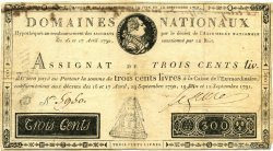 300 Livres FRANCE  1791 Laf.143 TB