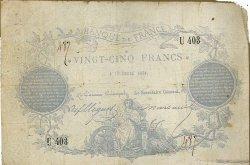 25 Francs Clermont-Ferrand FRANCE  1870 F.A44.01 B+