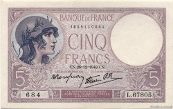 5 Francs VIOLET modifié FRANCE  1940 F.04.18 pr.NEUF