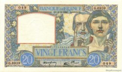 20 Francs SCIENCE ET TRAVAIL FRANCE  1941 F.12.20 SUP+