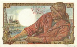 20 Francs PÊCHEUR FRANCE  1943 F.13.07 TTB+