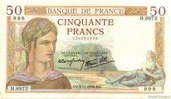 50 Francs CÉRÈS modifié FRANCE  1938 F.18.18 pr.SPL