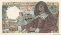 100 Francs DESCARTES FRANCE  1943 F.27.03 SPL