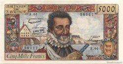 5000 Francs HENRI IV FRANCE  1958 F.49.05 SUP à SPL