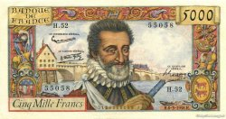 5000 Francs HENRI IV FRANCE  1958 F.49.06 SUP