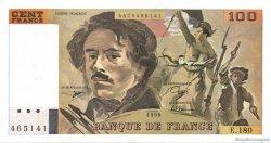100 Francs DELACROIX imprimé en continu FRANCE  1990 F.69bis.02d SUP+