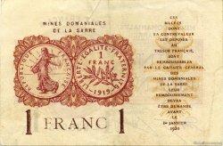 1 Franc MINES DOMANIALES DE LA SARRE FRANCE  1920 VF.51.03 TTB+