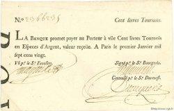 100 Livres Tournois typographié FRANCE  1720 Laf.090 SUP+