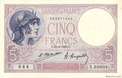 5 Francs VIOLET FRANCE  1925 F.03.09 SUP+