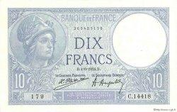 10 Francs MINERVE FRANCE  1924 F.06.08 SUP à SPL