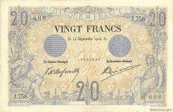 20 Francs NOIR FRANCE  1904 F.09.03 TTB