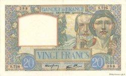 20 Francs SCIENCE ET TRAVAIL FRANCE  1940 F.12.05 SPL