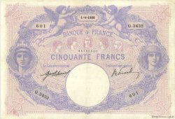 50 Francs BLEU ET ROSE FRANCE  1908 F.14.21 TB+